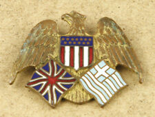 Greece USA Great Britain Joint Flags on Eagle Vintage Military Pin Badge 41x34mm