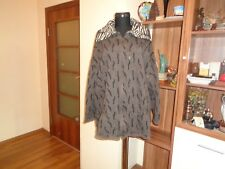 PIA CLAUDI BROWN WOOL KNITTED ZIPPED LAGENLOOK PRINTED CARDIGAN-SIZE L