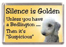 """Bedlington Terrier Dog Fridge Magnet """"Silence is Golden ...."""" by Starprint"""