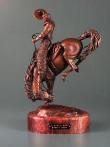 """Steve Lillegard A Rough Ride Cowboy on Bucking Horse 15"""" Tall Bronze Sculpture"""