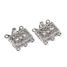 2 Set Platinum Tone Brass Rhinestone Box Clasps Finding Making Necklace Bracelet