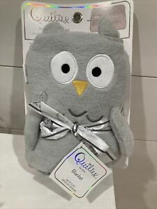 Quiltex Plush Gray 3D Woodland OWL Animal Roll Baby Blanket NWT