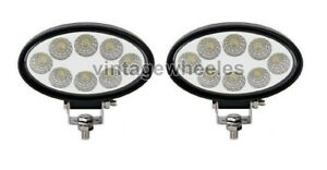 Set of 2 Universal Fit 6 LED Light Cabin Lamp Oval Type 12V JCB Tractor