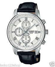 BEM-511L-7A White Casio Watches Stainless steel case Chronograph leather band