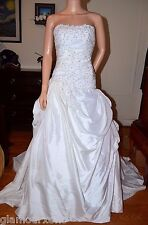 White Beaded Sequined Puffy Pick Ups Taffeta Wedding Gown Dress 2 X-Small XS S