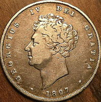 1827 GREAT BRITAIN GEORGE IV SILVER SHILLING COIN