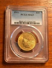 1911  $10 Gold Indian  Eagle PCGS  MS63