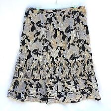 Apostrophe Womens Skirt Floral Cotton Size 12 Beige Black Print Side Zip Career