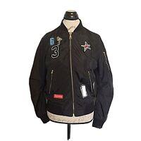 Womens Jacket  Windbreaker Size Small Light  Black Zipper Pockets Black Patches