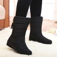 UK Women Ladies Winter Warm Snow Boots Fur Lined Waterproof Tassel Slip On  UK