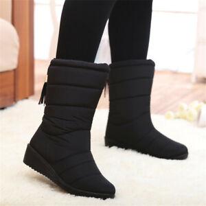 Women Ladies Winter Warm Snow Boots Fur Lined Shoes Waterproof Tassel Slip On