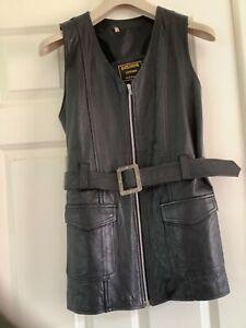 Vintage Black Leather Sleeveless  Mini Dress Tunic Zip front 70's era Rock - M