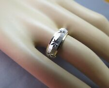 14k White Gold Star Ring Vintage Band Diamond Cut 4.68g Size 9 Ribbed Texture