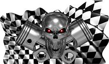 Checkered Flag Skull Piston Boat Car Truck Vinyl Stickers Racing Decals Wrap 45""