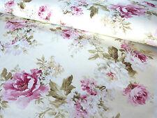 Stoff Baumwolle Mix Bezugsstoff Vorhangstoff Rosen Landhaus creme rosa 9053