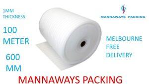 600mm x 100m Polyfoam 1mm Thick Packing Foam Wrap Roll