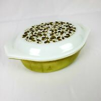 Pyrex 043 Casserole Dish 1 1/2 Qt Verde Green Olive with Lid 943-C Vintage 1970s