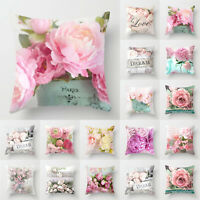 Cover Cushion Square Rose Pink Linen Pillow Sofa Case Wedding Home Bedding Decor