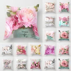 Bloom Rose Peony Cushion Covers Pink Geometric Pillow Case Sofa Waist Decor NEW