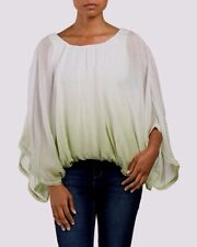 GIULIA Made In Italy White/Green Silk Ombre Blouse Shirt Top Size Small