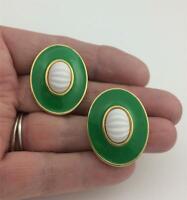 Vintage MONET Green Enamel White Ridged Acrylic Stone Gold Tone Post Earrings