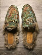 Gucci Men's Princetown Floral Brocade Fur Slipper - Gucci Size 8 (Kangaroo Fur)