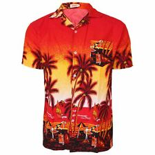 Hawaiian Mens Shirt Floral Rockabilly Surf Beach Party Holiday Stag Dance Red Sunset XXXL