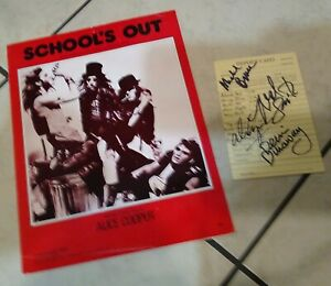 Alice Cooper School's Out Sheet Music (1972) + Autographed Report Card Insert