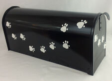 Hand Painted Mailbox FREE SHIPPING Black Post Mount Fun Pet Paws animals dog cat