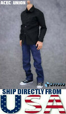 "1/6 Black Long Sleeves Shirt Blue Jeans Set For 12"" Hot Toys Male Figure U.S.A."