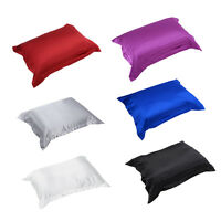 Silk Satin Fabric Cover Silky Bedding Cushion Cover Fitted Sheet Pillow Case SS