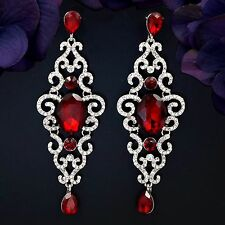 Rhodium Plated Red Garnet Crystal Rhinestone Drop Dangle Earrings 09318 New