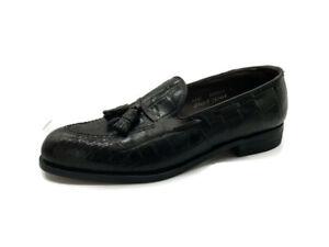 Footjoy Mens Alligator Loafers Brown Leather Tassels Slip On Dress Shoes 10.5C