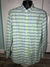 Nautica Green Blue and White Check Long Sleeve Button Front Shirt Size M EUC
