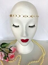 VINTAGE 1920s BOHO WHITE IVORY HEADBAND BRIDAL WEDDING GREAT GATSBY RACES ASCOT