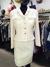 *Just Reduced* CHANEL Cream, Off White, 2pc Top, Jacket & Skirt Suit Set size 36