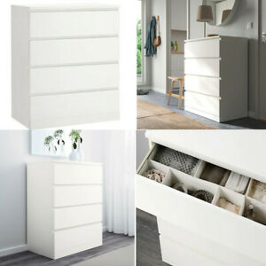 Ikea Malm Chest of 4 Drawers Storage Organisation For Home Office Living Room