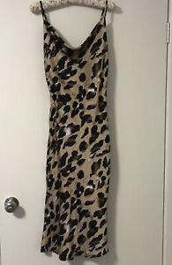 Princess Polly Leopard Print Silk Slip Midi Dress Size S