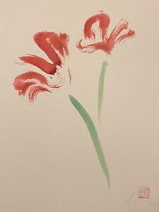 David Mack original art watercolor flower