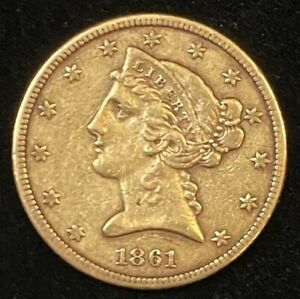 1861 $5 Liberty Gold Coin.! Uncertified.! NR.! Civil War Coin.!