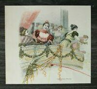 HO4) Farb Holzstich 1885-1900 Serpentinen Werfen Fasching Luftschlangen Kleider