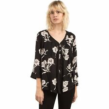 2017 NWT WOMENS VOLCOM SLIPNSLIDE BUTTON UP TOP $50 S black floral