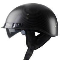 DOT Real Carbon Fiber Motorcycle Half Helmet Integrated Sun Visor Chopper Helmet
