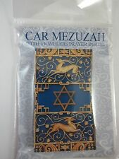 "Car Mezuzah 2.5"" Acrylic BLUE GAZELLE with Travelers Prayer Scroll"