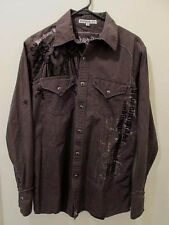 Manchester Ltd.mens brown long sleeve snap front graphic design western shirt S