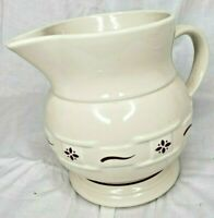 Longaberger Pottery Woven Traditions Large 64 oz 2 QT Juice/Milk Pitcher