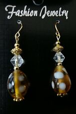 "Pierced Earrings Golden Glass Bead with White polka Dots Drop Dangle 1 3/4"" Long"