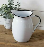 """Farmhouse ENAMELWARE PITCHER White Vintage Style Country Cottage Chic Vase 8"""" T"""