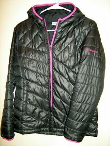 Girls sz L Columbia Lightweight Puffer Hooded Jacket Zip Up Black Winter Coat