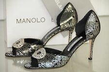 $895 New MANOLO BLAHNIK SEDARABY 90 Black Silver Foil Jeweled Heels SHOES 42